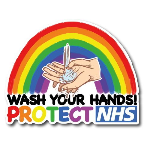 Mirror Protect NHS Sticker Thank you NHS Rainbow Wash your hands sticker
