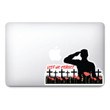 Soldier and Crosses |  Remembrance Day Sticker, Poppy Flower Decal, Car, Window, Fridge
