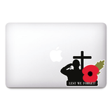 GB Lest We Forget Remembrance Day Sticker, Poppy Flower Decal, Car, Window, Fridge