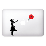 Banksy Girl with Poppy flower Remembrance day - Lest we forget sticker | Wall art graffiti vinyl Sticker | Urban Art Window, Car, Laptop Decal