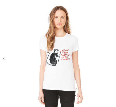 Influent UK Casual Banksy Out of Bed Rat Art Women T-Shirt