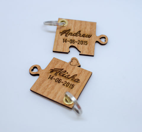 Lovers laser cut cherry wood key rings with names and wedding date engagement date 2 items