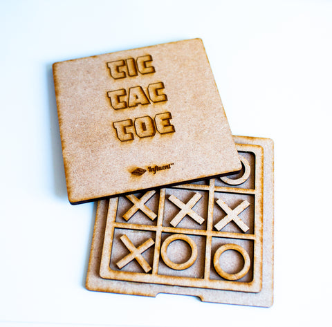 Laser cut Tic Tac Toe - Wooden Board Games for Children - Travel Games for Kids - Influent UK