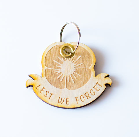Lest we forget - Laser cut Wooden Keyring Remembrance day Armistice day - Influent UK