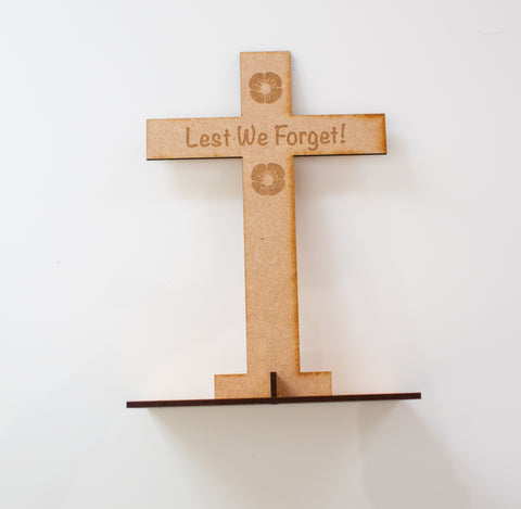 Laser cut Wooden Cross for Remembrance day or Armistice day or Lest we forget event