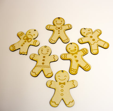 Laser cut gingerbread Christmas decoration set of 6 unique designs plywood 3 mm