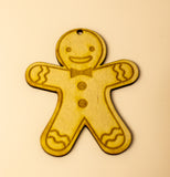 Laser cut gingerbread Christmas decoration set of 6 unique designs plywood 3 mm - Influent UK