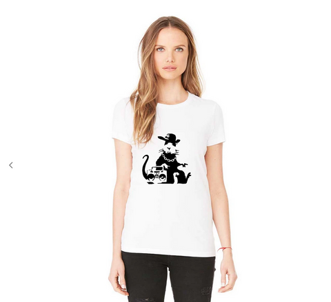 Influent UK Casual Banksy Rat Ghetto Art Women T-Shirt