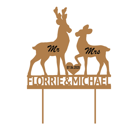 Custom Deer Cake topper Laser cut  MDF Cake topper - Influent UK