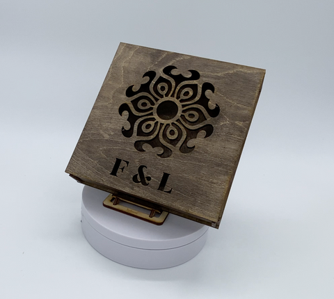 Laser cut ply brown stained Ring Box