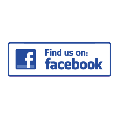 Find us on Facebook sticker Shop, Cafe, Bar, Restaurant Vinyl decal Stickers - Influent UK