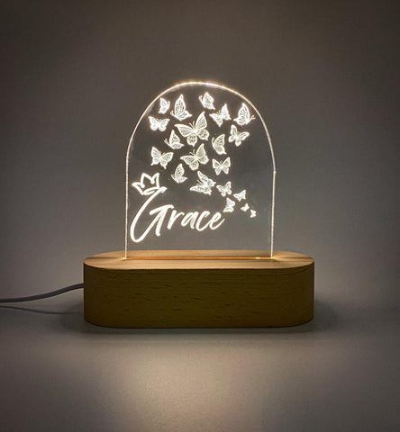 Custom laser cut butterfly name Acrylic USB lamp for boys or girls - butterflies