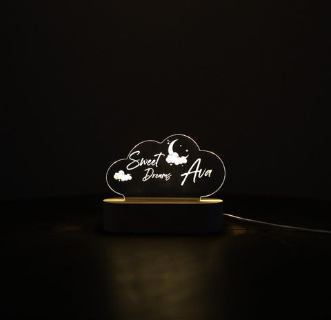 Sweet Dreams Cloud Custom name Laser cut Acrylic USB lamp for boys or girls Bedside Lamp
