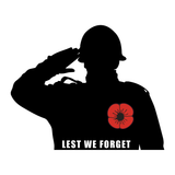 British Soldier Salute Lest We Forget Remembrance Day Sticker, Poppy Flower Decal