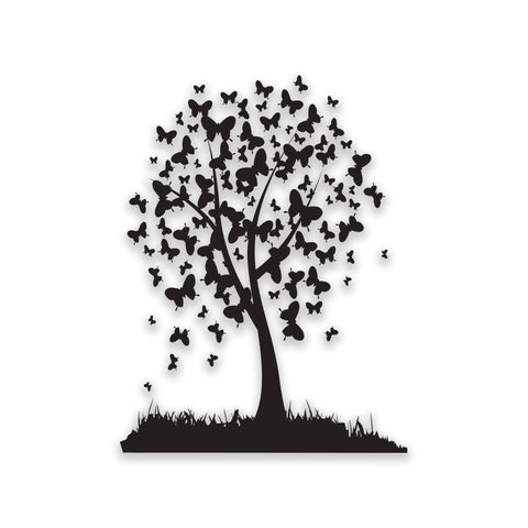Black Butterfly Tree Design Self Adhesive Sticker Fridge Wall Art