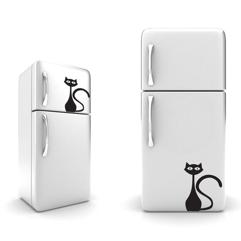 Cat Standing Fridge Stickers on black vinyl on A4 size - Kitchen Stickers - eyes