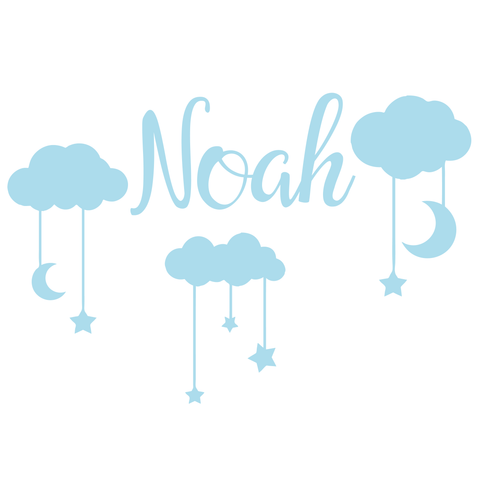 Clouds and Custom Name Stickers for Kids Rooms Boys or Girls Perfect Custom Name Sticker Decoration