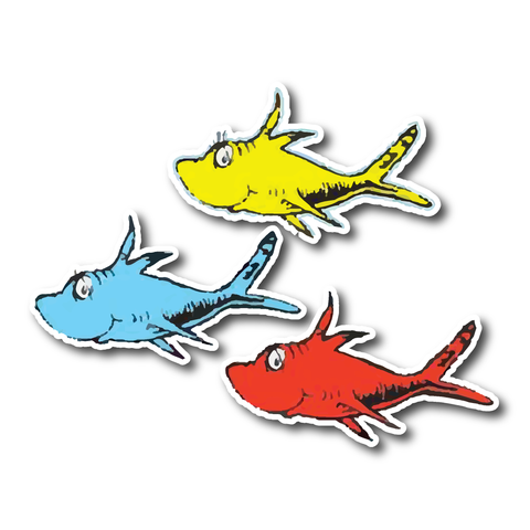 Dr Seuss Fish stickers - favourite Dr Suess stickers - 3 Fish - Influent UK