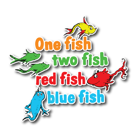 One Fish 2 Fish Dr Seuss stickers - favourite Dr Suess stickers