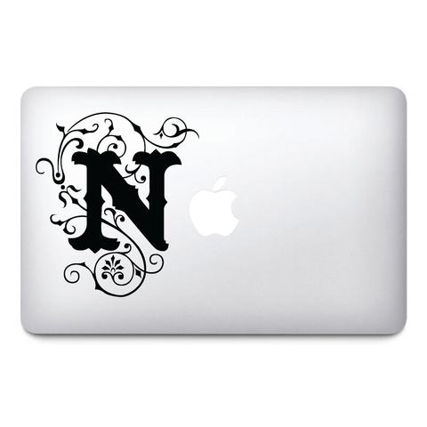 N letter Macbook Stickers on black vinyl | Laptop stickers | Macbook Decals