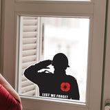 British Soldier Salute Lest We Forget Remembrance Day Sticker, Poppy Flower Decal - Influent UK