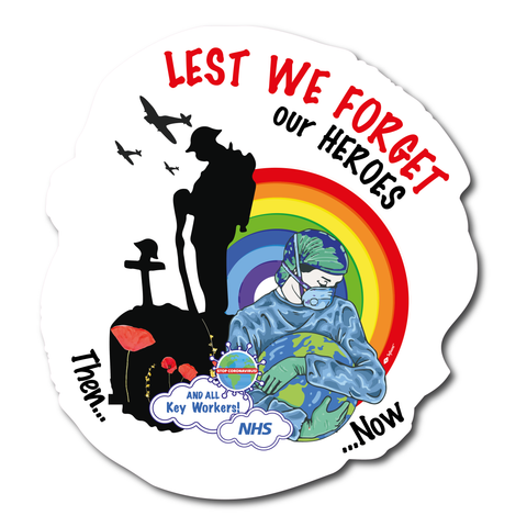 Lest We Forget Remembrance Day Sticker Support NHS and Keyworkers - Listed for charity
