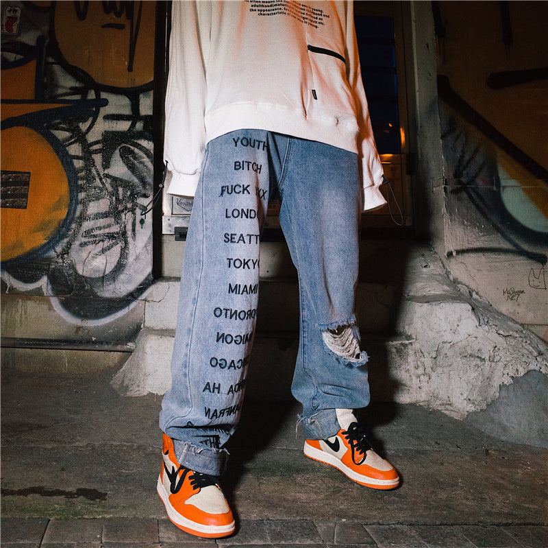 Whoa Ha! Original ins Europe and America street hip hop trend bf loose straight hiphop hole jeans male 3981175350005 3981175350006 3981175350007 3981175350008