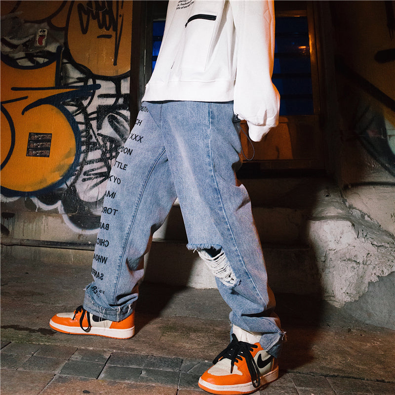 Whoa Ha! Original ins Europe and America street hip hop trend bf loose straight hiphop hole jeans male
