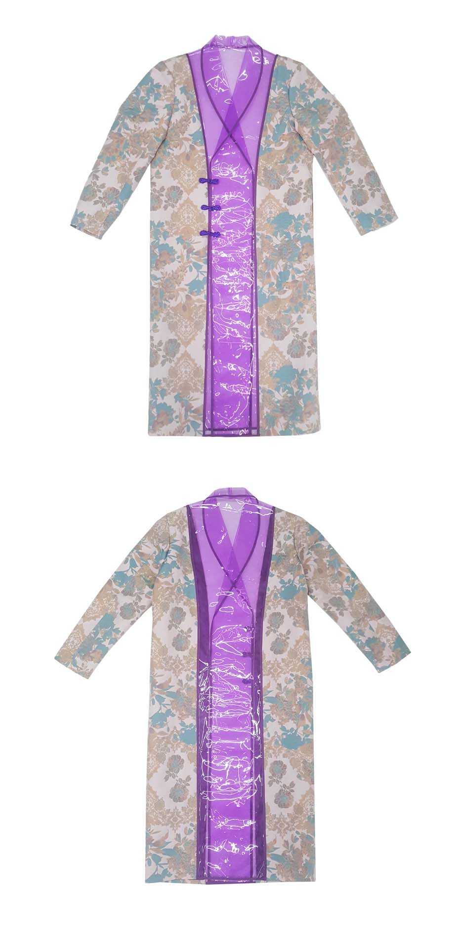 YOIKADAKADA 2018FW independent design show embroidery PVC stitching cyber wind transparent long windbreaker