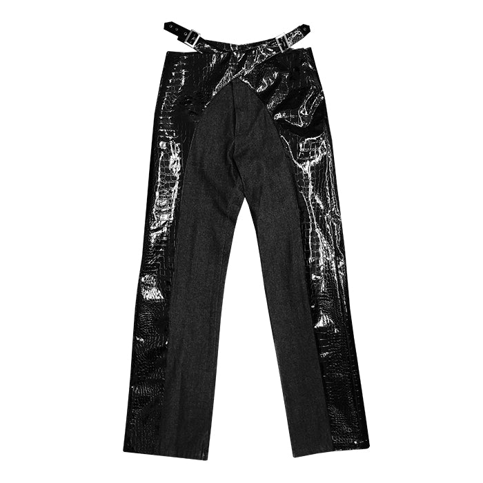 YOIKADAKADA2019SS patent leather crocodile leather stitching denim retro high waist cross metal buckle trousers