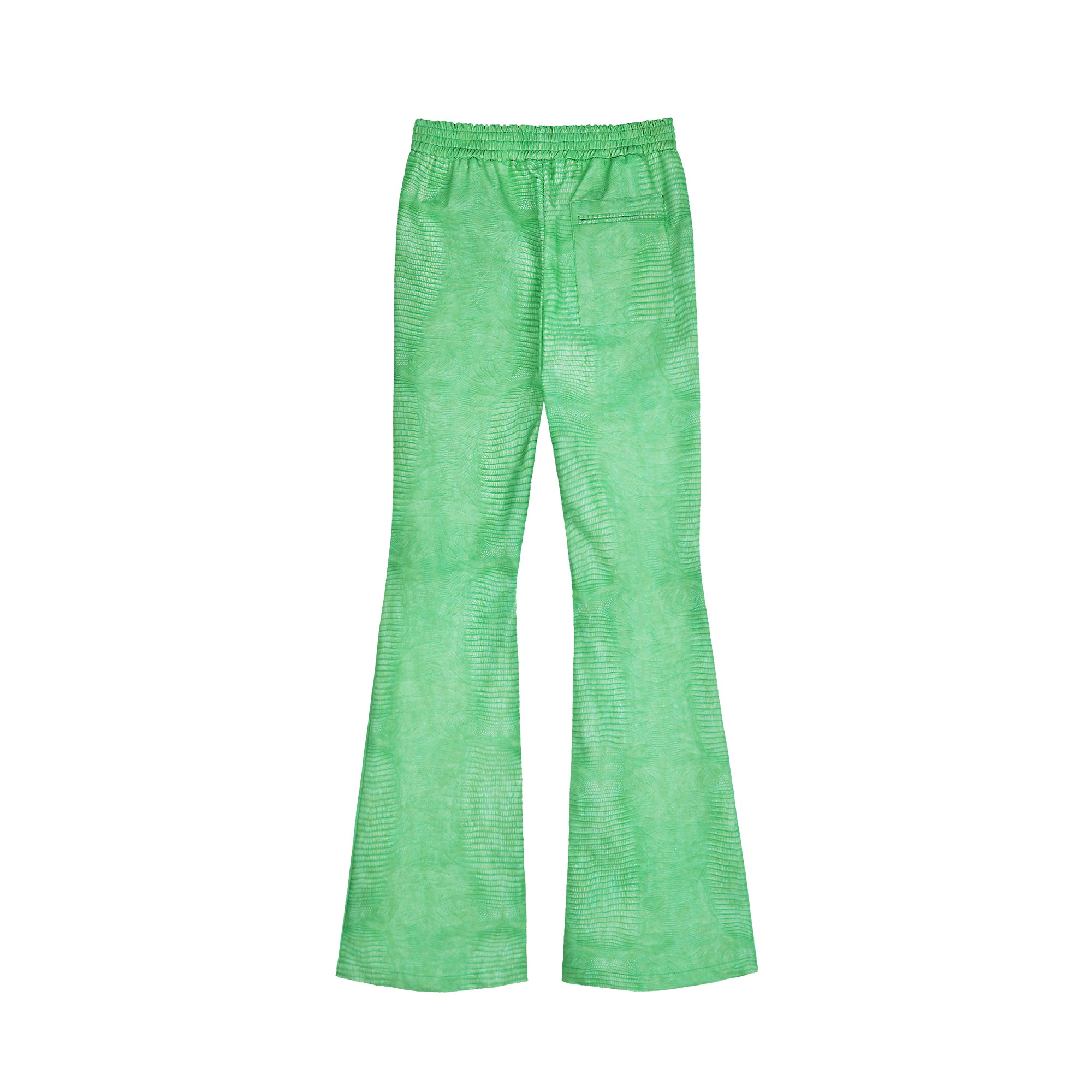 NUTEMPEROR Z Project 0002 green lizard skin slim flared pants