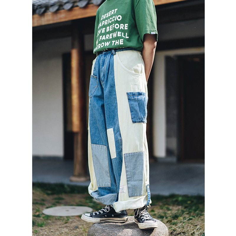 PROS BY CH remade collage pants men's martial arts Japanese retro stitching loose denim wide leg overalls