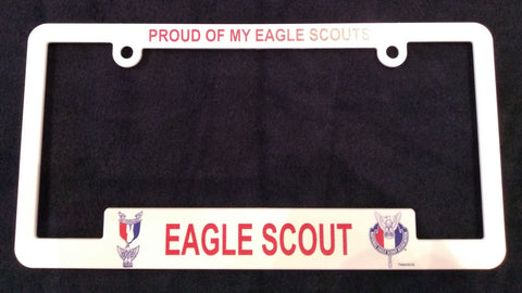 "Eagle Scout License Plate Frame ""Proud Of My Eagle Scouts"""