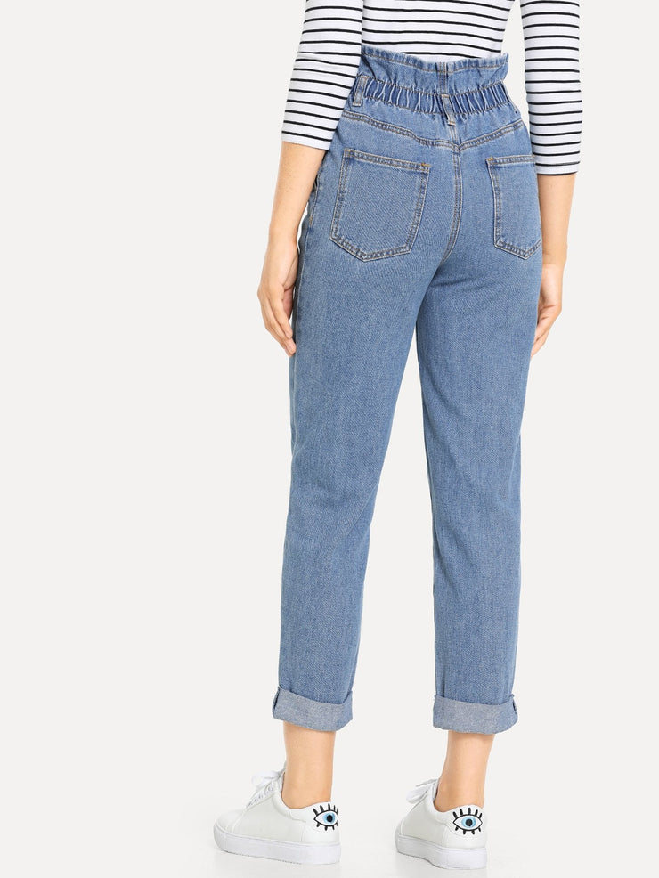High Waisted Rolled Hem Mom Jeans