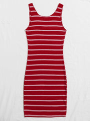 Notch Neck Rib-knit Striped Nightdress