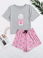 Slogan Graphic Tee With Bow Front Shorts PJ Set