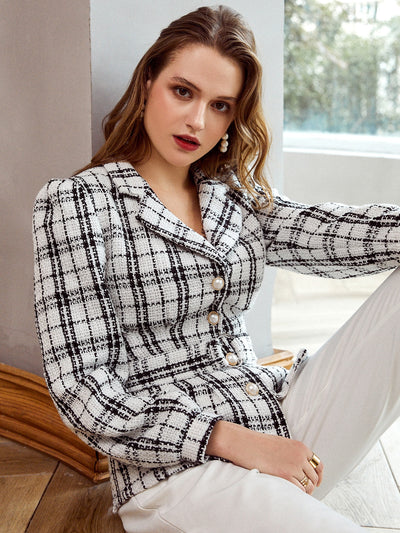 Simplee Button Front Buckle Belted Plaid Tweed Blazer