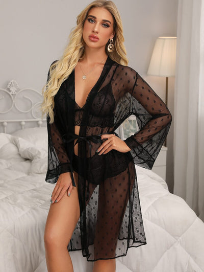 3pack Floral Lace Lingerie Set With Mesh Robe