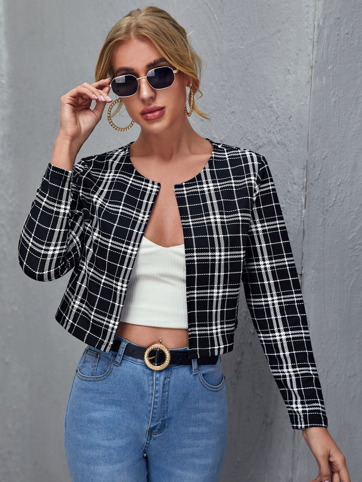 Open Front Plaid Blazer