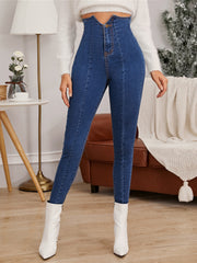 High Waist Notched Detail Jeggings