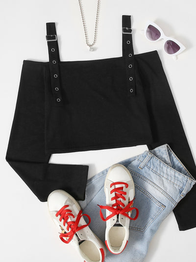 Eyelet Buckle Strap Crop Top