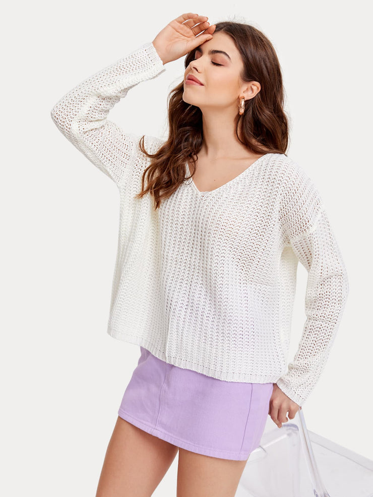 Solid Ribbed Knit Oversized Sweater