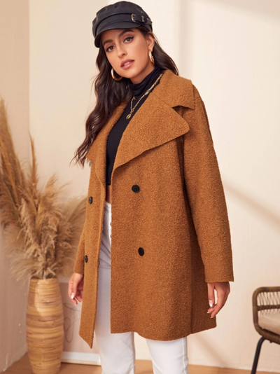 Lapel Neck Double Breasted Teddy Coat