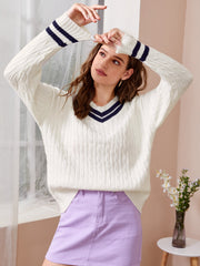 Cable Knit Striped Cricket Sweater