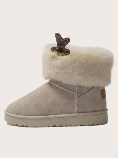 Letter Patch Fluffy Boots