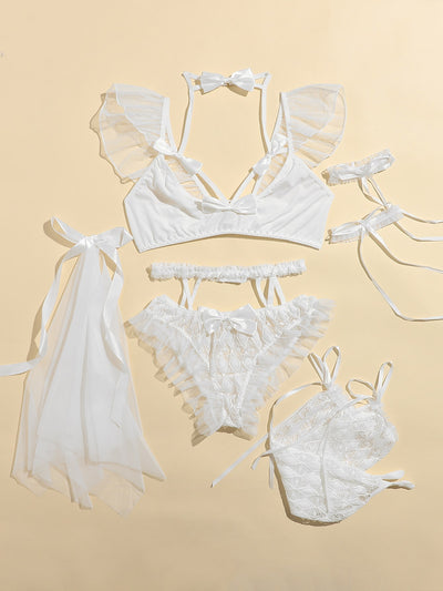 7pack Frill Trim Bow Decor Lace Sexy Set