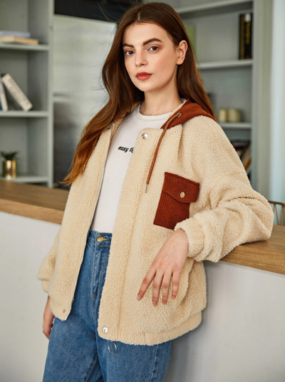 Drop Shoulder Contrast Cord Pocket and Hooded Teddy Jacket