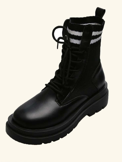 Striped Lace-up Combat Boots