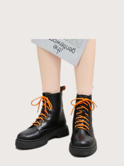 Colorblock Strap Lace-up Combat Boots