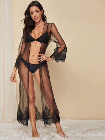 Eyelash Lace Sheer Robe Without Lingerie Set
